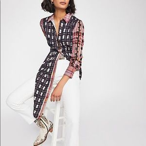 FREE PEOPLE Over the Rainbow Button Down